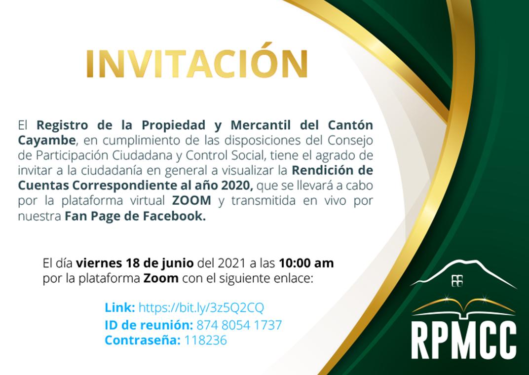 INVITACIÓN – RENDICIÓN DE CUENTAS 2020